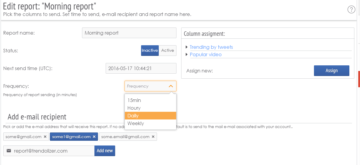 Set up reports to get daily (or weekly...) mails listing stories matching your criteria.
